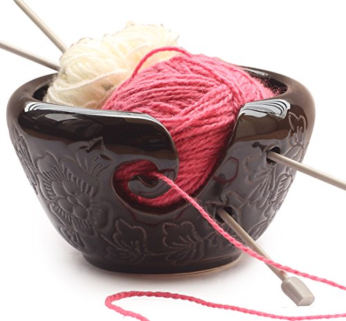 2018 -  AB Handicrafts - Ceramic Black Yarn Bowl for knitting 6.5 inch, Crochet for Moms - Beautiful Gift on all Occasions. A Perfect Gift for Moms and Grandmothers by AB Handicrafts