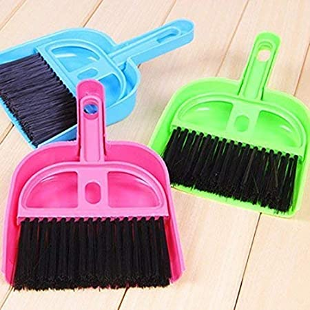 Truvic Pack of 3 Multipurpose Plastic Mini Dustpan/Supdi and Brush Broom Cleaning Set for Kitchen Laptop Table Desk Sweeper (Multicolour)
