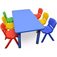 1.2M Kid's Adjustable Rectangle Blue Table & 6 Mixed Chairs Set