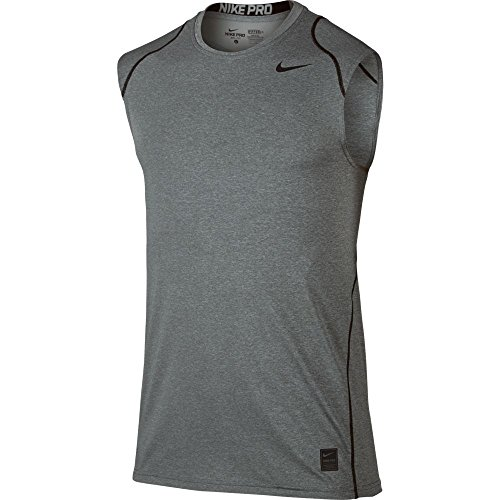 Nike Mens Pro Cool Fitted Sleeveless Shirt (X-Large, Carbon Heather)