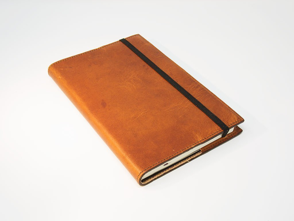 Leather Journal made of Horween Dublin leather Natural Color with Brown Stitching Moleskine Classic Journal Included