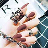 BloomingBoom 24 Pcs 12 Size Stiletto Pointed False Nail Matte Full Cover Fake Nail Press on Salon Pre Design Women Claw Mountain Peak Mist America Red