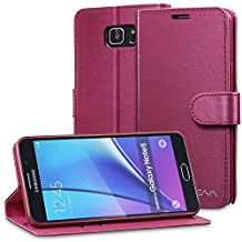 Vena Samsung Galaxy Note 5 Wallet Case [vSuit] Draw Bench PU Leather Snap Case Cover with [Card Pockets] for Samsung Galaxy Note5 (Burgundy Red)
