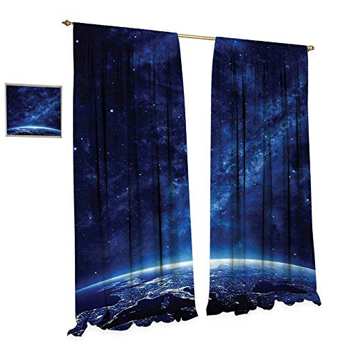 Anniutwo Space Patterned Drape for Glass Door Earth at Night from Deep Atmosphere Vibrant Milky Way Lights Starfield Ecliptic Scene Waterproof Window Curtain W120 x L84 Dark Blue