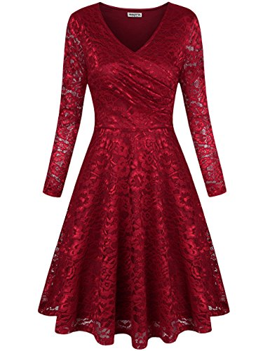 HNNATTA Lace Skater Dress, Girls Party Cocktail Ladies Dresses Rose Business Party Formal Clothes Career Women Wine Medium Kids Career Dress