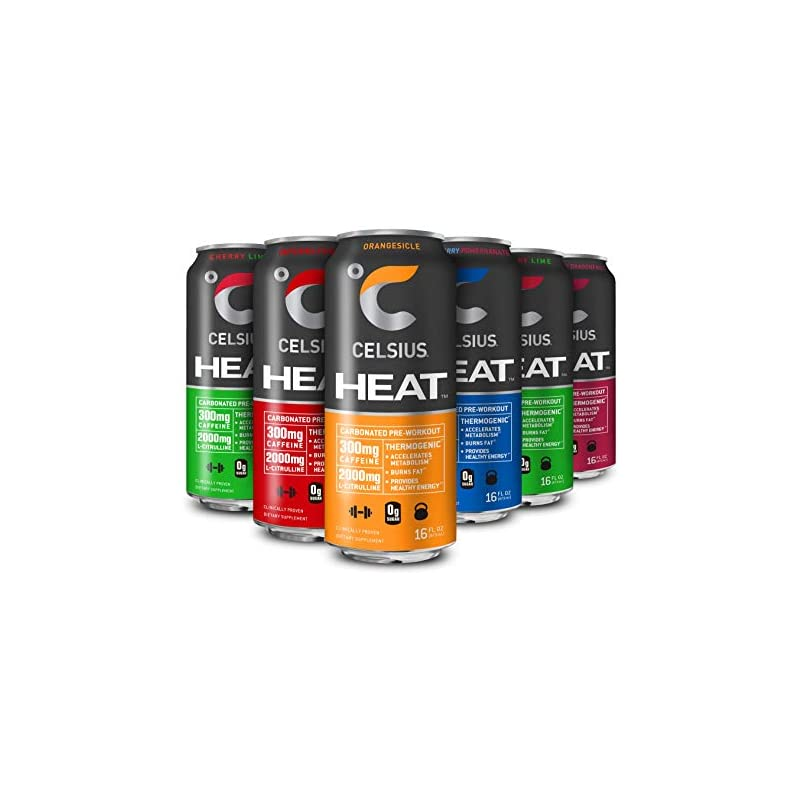 CELSIUS HEAT Performance Energy Drink 5-Flavor Variety Pack, ZERO Sugar, 16oz. Can, 12 Pack