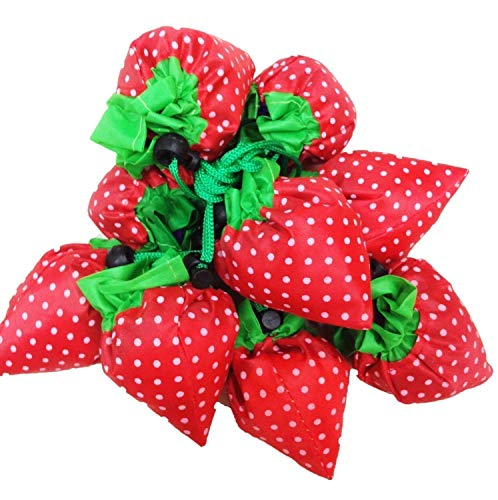 10 Pack of Strawberry Shopping Bags, Ripstop Nylon Reusable Shopping Tote Bag, Expandable ECO Bags (Color A)
