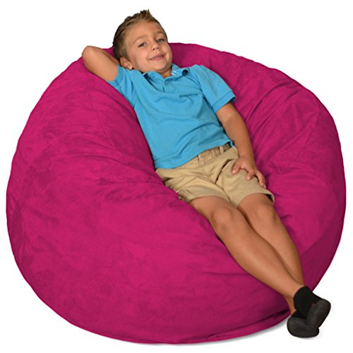 Comfy Sacks 3 ft Memory Foam Bean Bag Chair, Magenta Micro Suede ()