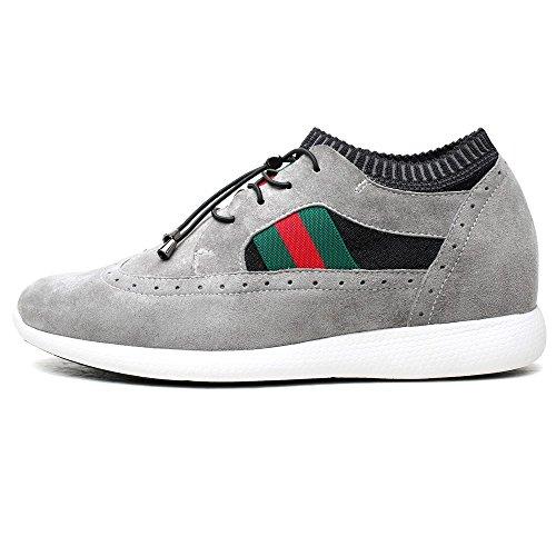 CHAMARIPA Elevator Schuhe für Männer 2,76 Zoll Taller Fashion Sneakers Höhe Erhöhung Schuhe-H71C11K122D Grau