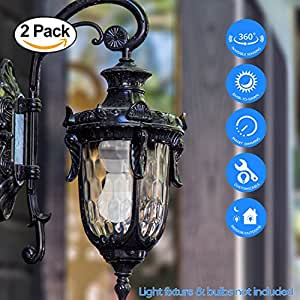 eSenlite Radar Motion Sensor Activated Retrofit Light Sockets Compatible LED CFL Incandescent Bulb Outdoor Light Fixture Indoor Table Floor Decoration Lamp Fixed Base Dusk to Dawn Dimmable Pathway 2PC