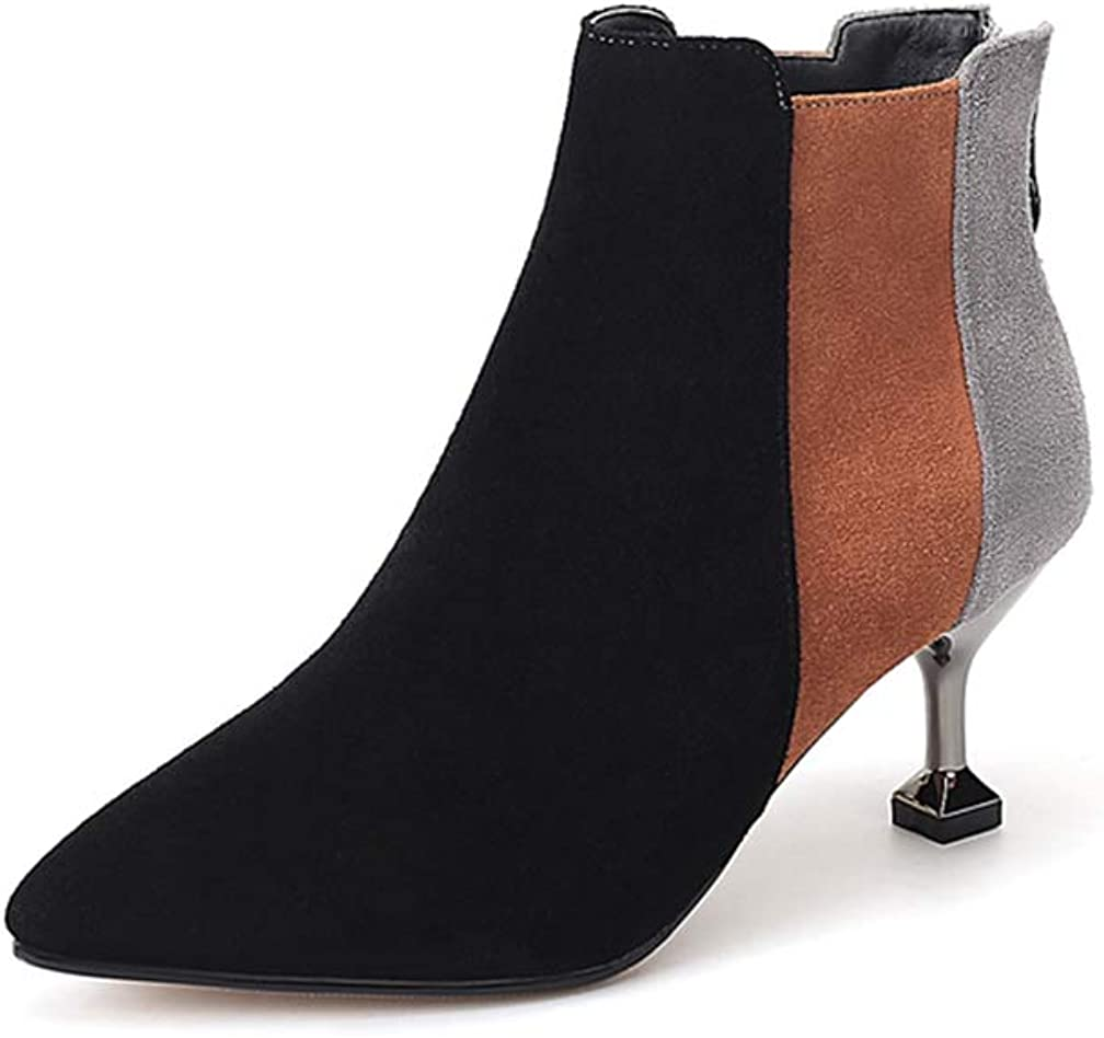 ChyJoey Womens Metal Mid Heel Ankle Booties Pointed Toe Zipper Fashion Suede Fall Short Boots Multicolor
