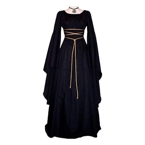 Spachy Vestido Victoriano para Mujer, Maxi Vestido de renacentista, Disfraz de Bruja gótica de Halloween, Negro, Large