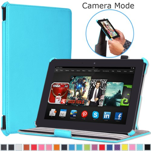 """MoKo Case for Amazon All-New Kindle Fire HDX 8.9"""" - Slim-Fit Multi-angle Stand Cover Case for Kindle Fire HDX 8.9 Inch 2014 Generation and 2013 Gen Tablet, Light BLUE"""