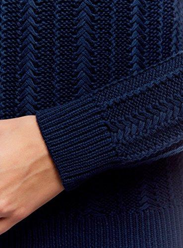oodji Ultra Mujer Jersey de Punto en Relieve con Mangas Raglán Azul (7900N)