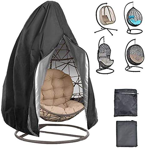 ぶら下げスイングカバー 卵スイング椅子カバー 安定性 長寿命 防水 防塵 防風 防汚 耐腐食 多機能 多機能 家具カバー ガーデン屋内・屋外用 ブラック