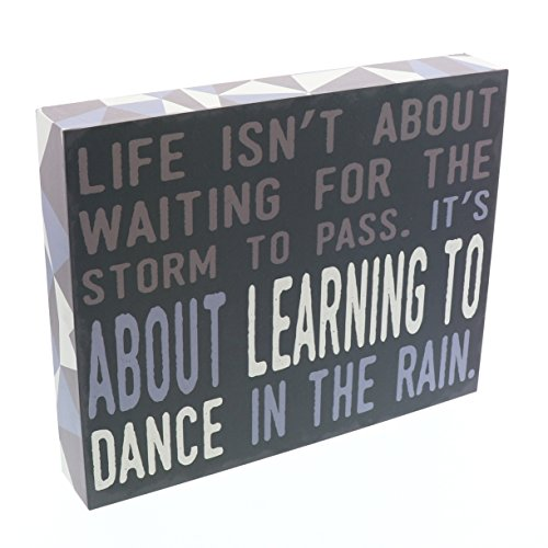 Barnyard Designs Life Isn't About Waiting for The Storm to Pass Box Wall Art Sign, Primitive Country Farmhouse Home Decor Sign with Sayings 10'' x 8'' by Barnyard Designs