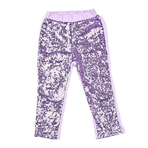 IWEMEK Girls Shiny Sequin Sparkle Leggings Birthday Dance Elastic Waist Tights Long Stretch Pants Trousers Activewear Light Purple 4-5 Years -