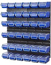 Set van 4 wandpanelen met 36 blauwe opbergbakken Ergobox Plus