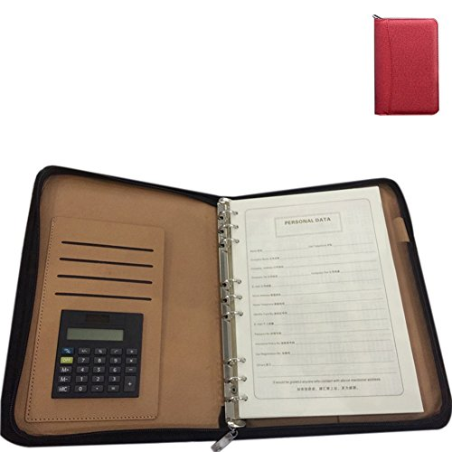 ZZ Lighting Executive Zippered Professional Business Planner Zipper 6-Ring Binder Organizer Packet Portfolio with Filler Paper Calculator Card Bag(B5 Red) by ZZ Lighting
