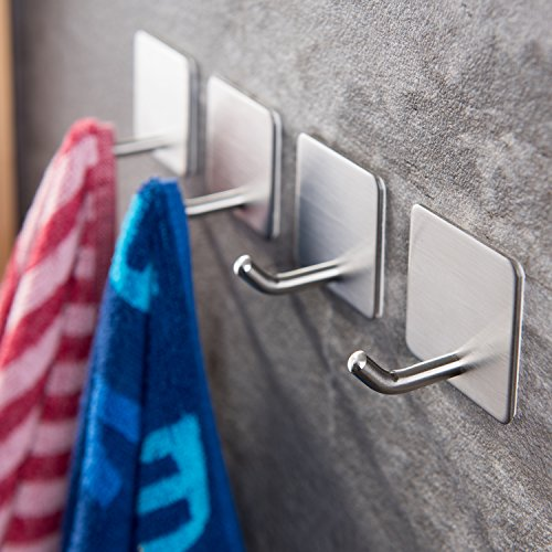 (YIGII Towel Hooks/Bathroom Hook - Self Adhesive Hooks Office Hooks Hanging Keys for Kitchen Stick on Wall Stainless Steel 4 Packs)