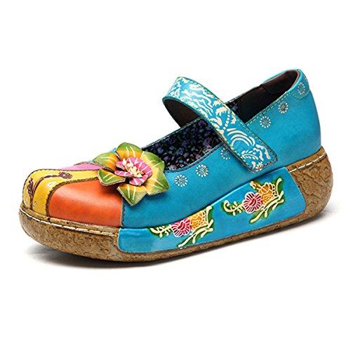 Ciabatte Da Donna Socofy, Sandali Slip-ons Pantofola In Pelle Vintage Zoccoli Pantofole Vintage High-top Espadrillas Fiori Scarpette Pantofole Blu 4
