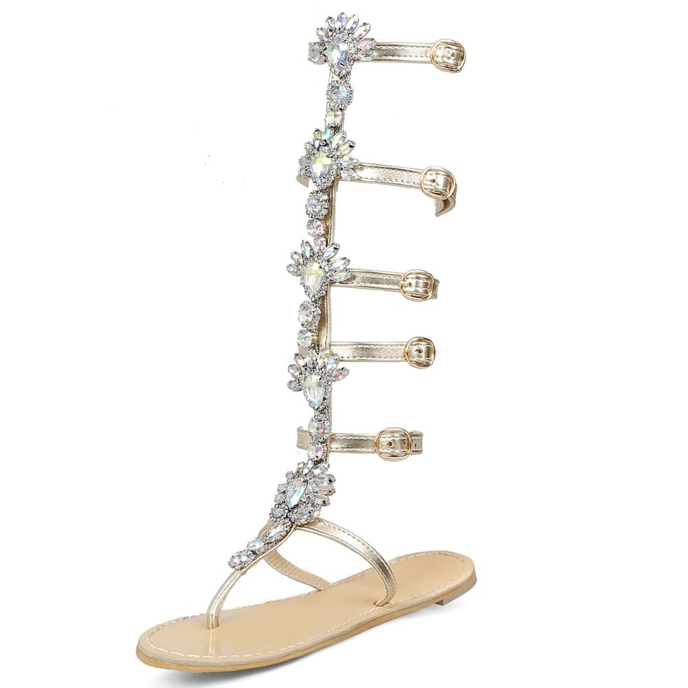 DecoStain Women's Fashion Appliques Decoration Buckle T-Strap Flat Heel Party Gladiator Sandals