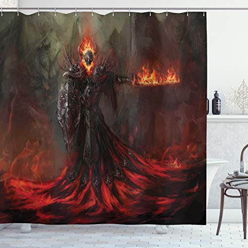 "Ambesonne Fantasy World Shower Curtain, Dark Creature in Magma Evil Temperate Zone Illustration Print, Cloth Fabric Bathroom Decor Set with Hooks, 75"" Long, Army Green and Orange"