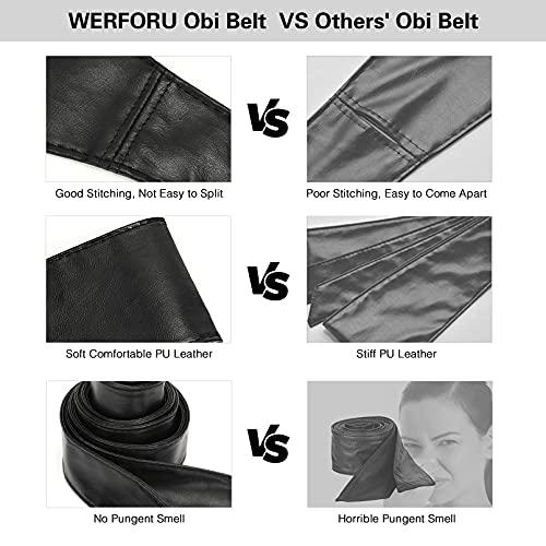 Women Wide PU Leather Obi Belt Lace Up Wrap Around Bowknot Corset Waist Belt for Dress Halloween,Black,suit for waist size 24