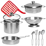 Liberty Imports Stainless Steel Metal Pots and Pans Kitchen Cookware Playset for Kids with Cooking Utensils Set