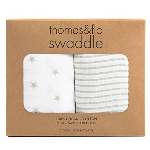 Thomas & Flo Super Soft Premium 100% Organic Cotton Square Muslin Baby Swaddle Blankets - Gray Stars and Stripes - 2 pack - 47