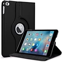 TGK 360 Degree Rotating Leather Auto Sleep Wake Function Smart Case Cover Stand for Apple iPad Mini 4 (A1538, A1550) (Black)