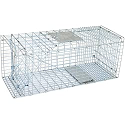 "ZENY Live Animal Cage Trap 32"" X 12.5"" X 12"" Steel Cage Catch Release Humane Rodent Cage for Rabbits, Stray Cat, Squirrel, Raccoon, Mole,Opossum, Skunk & Chipmunks (32"" X 12.5"" X 12"")"
