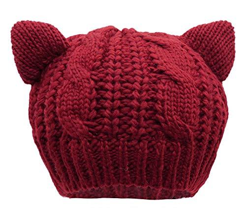 Bellady Women's Hat Cat Ear Crochet Braided Knit Caps,Burgundy - Hat Knit Sweater