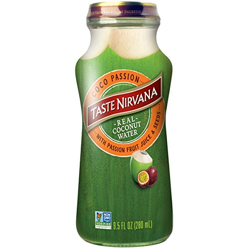 Taste Nirvana Real Coco Passion, Coconut Water with Passion Fruit Juice & Seeds, 9.5 Ounce Glass Bottles, (Pack of 12)