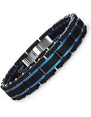 COOLMAN Schmuck Herren Armbänder Edelstahl Blaue Schwarze justierbare 15,5-23 cm (mit Marken-Geschenk-Kasten)
