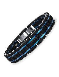 Coolman Mens Bracelets Stainless Steel Blue&Black Adjustable 8-9 Inch( With Branded Gift Box)