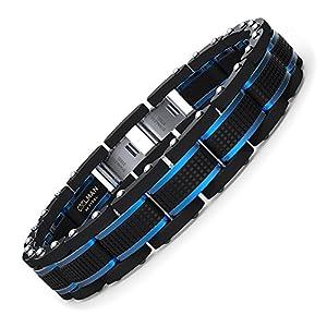 COOLMAN Bijoux Hommes Bracelets Acier Inoxydable Bleu & Noir Réglable 15,5-23 cm (avec Boîte-Cadeau Marque)