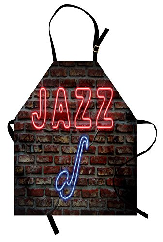 Ambesonne Music Apron, Image of Alluring Neon All Jazz Sign with Saxophone Instrument on Brick Wall Print, Unisex Kitchen Bib with Adjustable Neck for Cooking Gardening, Adult Size, Red Blue -