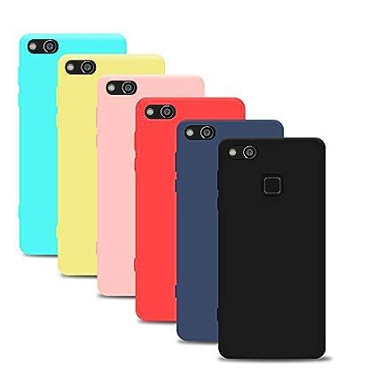 Silingsan 6X Funda Huawei P10 Lite(5.2 Pollici), Carcasa Color Caramelo Funda Silicona Suave Funda Protectora Ultra Delgada Anti Slip Cover Negro Azul ...