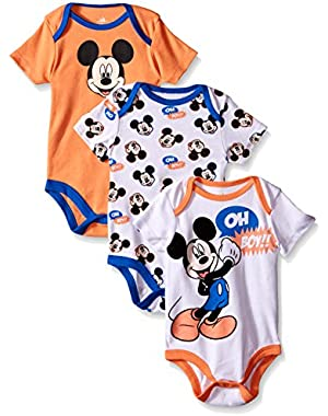 Baby Boys' Mickey Mouse 3 Pack Bodysuits
