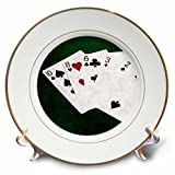 3dRose Alexis Photo-Art - Poker Hands - Poker Hands High Card, Ten to Two - 8 inch Porcelain Plate (cp_270576_1)