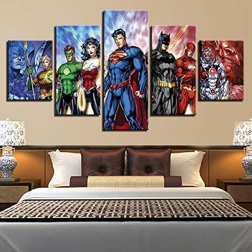 OJKYK 5 Panels Superhero Marvel Comics Movie Poster Canvas Prints Wall Art Painting for Children Kids Home Decor,B,20x35x2+20x45x2+20x55x1