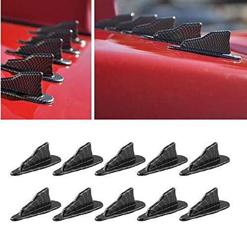 Alpha racing Air Vortex Generator Diffuser Shark Fin 10pcs Set Kit for Spoiler Roof Wing Carbon Fiber Pattern