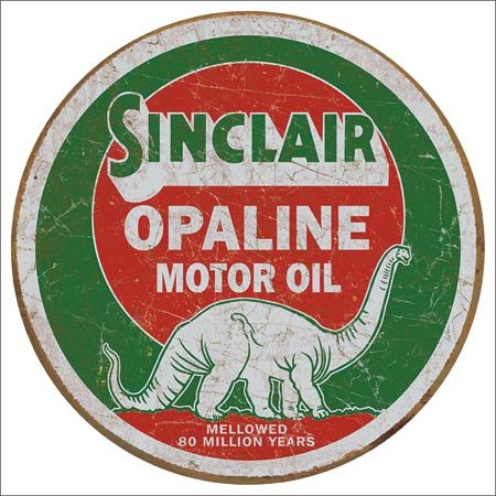 (The Finest Website Inc. Sinclair Opaline Motor Oil Round Sign 11.75 inches in Diameter (D2047) Rustic Antique Appearance Tin Sign)