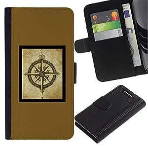 Supergiant (Compass Brown Yellow Frame Poster) Dibujo PU billetera de cuero Funda Case Caso de la piel de la bolsa protectora Para Sony Xperia Z3 Compact /D5803 / D5833