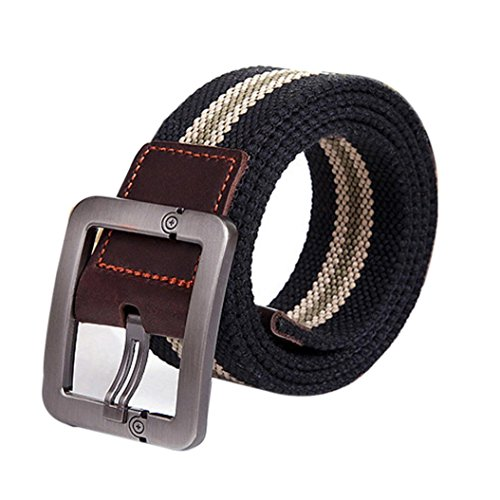Alonea Men and Women Casual Square Buckle Waist Strap Sports Knit Canvas Belts - Square Buckle Casual