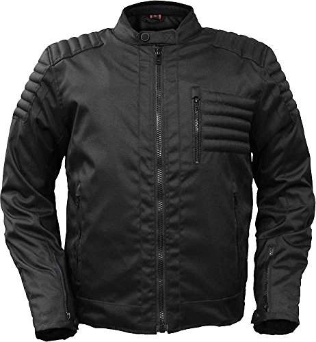 First Manufacturing mens Textile Defender Motorcycle Jacket(Black