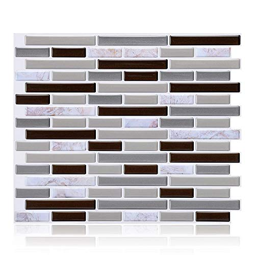 Wffo 3D Self Adhesive Wall Tiles, Mosaic Self Clever Tiles Glitter Adhesive Tiles (Gray)