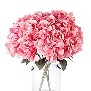 Louiesya Artificial Flowers Silk Hydrangea Flowers with 5 Big Heads Fake Flower Bunch Bouquet for Home Wedding Party Decor DIY 95
