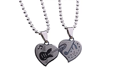 596a0e8988 Image Unavailable. Image not available for. Colour: GirlZ! Silver Stainless  Steel Heart-shaped Guitar Couple Pendant Necklace with chains For Men